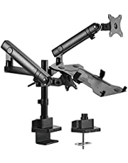 """Brateck Aluminum Pole Mount Mechanical Spring Monitor with Laptop Holder Fit Most 17""""-32"""" Monitors Up to 8kg Laptop Up to 4.5kg"""