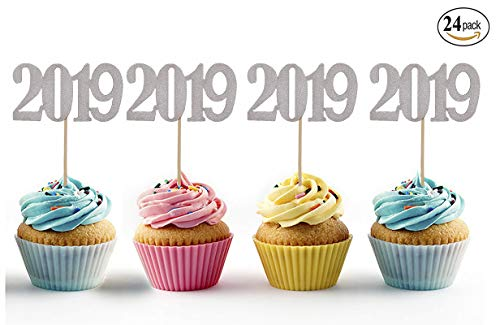 Price comparison product image Topfun 24 Pack Number 2019 Cupcake Toppers Silver Glitter Cake Toppers Food Picks Decorations for New Year Birthday Graduation Wedding Party Favors