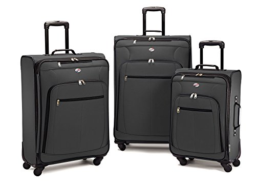 American Tourister 64590 AT Pop Plus Suitcase, 3 Piece Set (One Size, Charcoal) by American Tourister