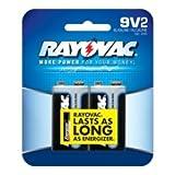 Alkaline Batteries, 9V, 2/Pack