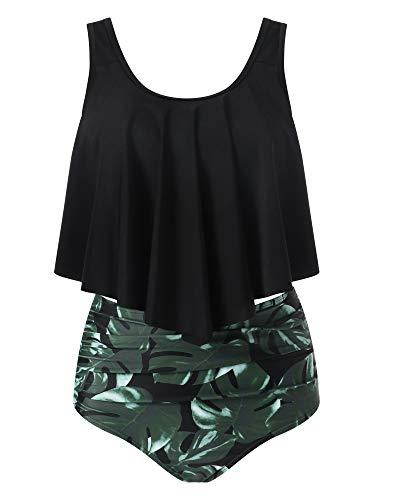 ca8e98278ee RXRXCOCO Women Flounce High Waisted Bikini Swimsuit Two Piece Bathing Suit  Top with Swim Bottom