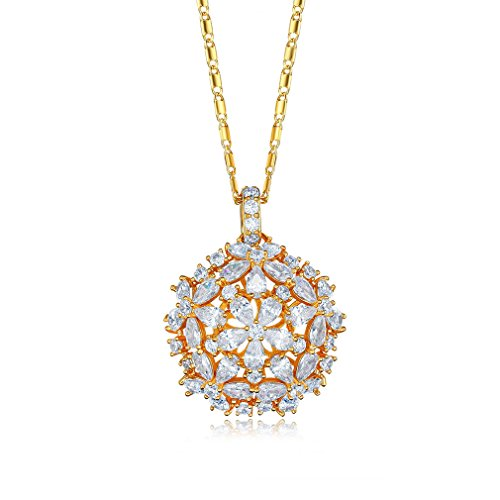 SHINCO Bella Lotus Flower Cluster Necklace with 18k Gold Plated CZ Pendant, Gift for Women/Girls Love, Thanks, Christmas, New Year