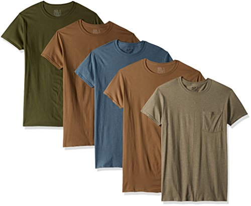 Fruit of the Loom Men's 5-Pack Assorted Pocket T-Shirt, Assorted Earth Tones (5 Pack), X-Large by Fruit of the Loom