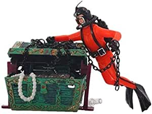 Aquarium Landscaping Pneumatic tank decoration Treasure searching Frogman Diver chest