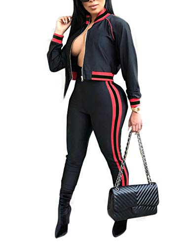 Ribbon Stripe Jacket - Angsuttc Women's 2 Piece Outfit Long Sleeve Full-Zip Jacket and Bodycon Long Pants Set Tracksuit Black XL