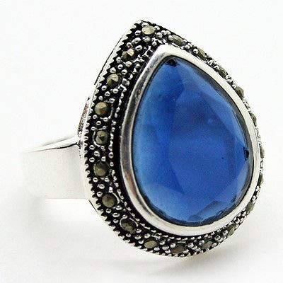 (Rare Faceted 2520mm Blue Crystal &Marcasite 925 Sterling Silver Ring Size 7/8/9/10)