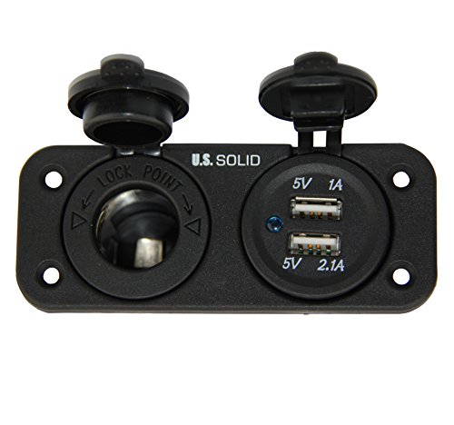 - Marine Grade Dual USB Socket and Cigarette Lighter Power Socket DC 12V