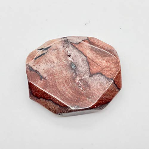 - One Bead of Oregon Red Devil Jasper Faceted Pendant Bead 8659