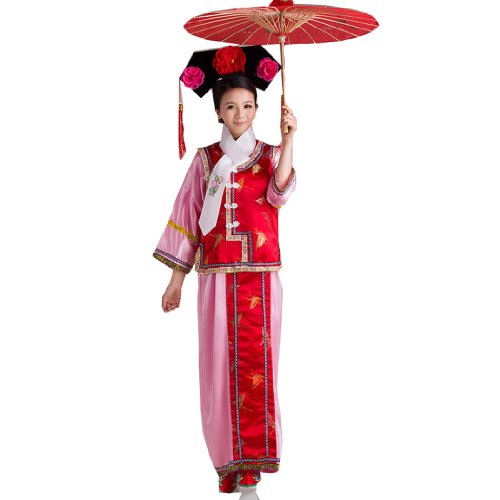 Qing Dynasty Costume (Bysun Chinese Swallow Princess Dress GEGE costume Pink Bottoming-shirt&Red Butterfly WaistcoatFS)