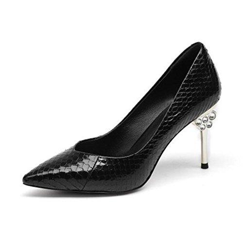 ZHRUI Zapatos de Tacón H5277 Sandalias de Tacones de Aguja de Diamante Negocios Ocio Boda 8,5 cm Negro, Amarillo-Verde Black