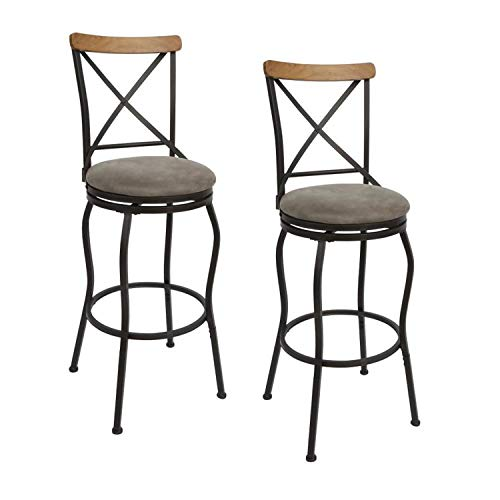 Cheyenne Products Set of 2 Oil Rubbed Bronze Adjustable Stools with Back Support, Tall Chairs