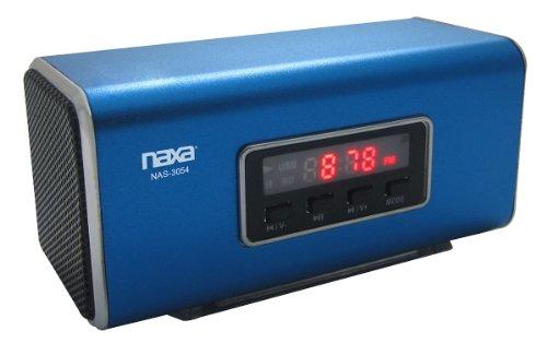 NAXA Electronics NAS-3054 Portable Speaker with USB, SD/MMC Inputs and FM Radio with LED Display (Blue) from Naxa Electronics