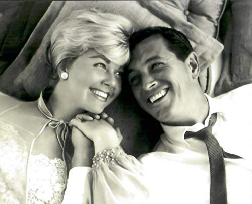 Rock Hudson and Doris Day Laying Together Sweetly Black and White 8 x 10 Inch Photo