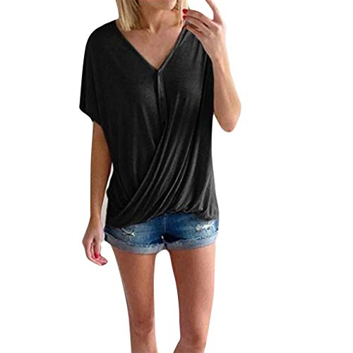 YEZIJIN Women Loose Casual V Neck Short Sleeves Pure Color T Shirts Summer Shirts 2019 Under 10 Dollars Black -