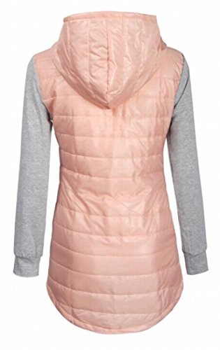 Slim Vogue Coat amp;W M Hoodie Quilted L amp;S Women Jacket Pink Parka xFqaY