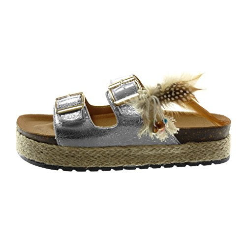 Angkorly Women's Fashion Shoes Sandals Mules - Slip-on - Platform - Folk - Shiny - Feather - Cord Wedge Platform 4 cm Silver
