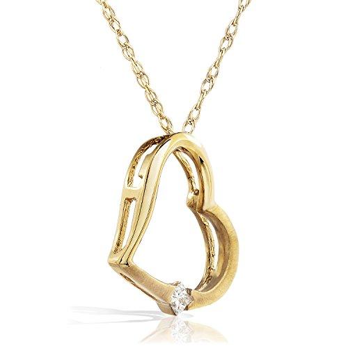 Pendentif Coeur Diamant en Or Blanc 14K Rose Ou Jaune