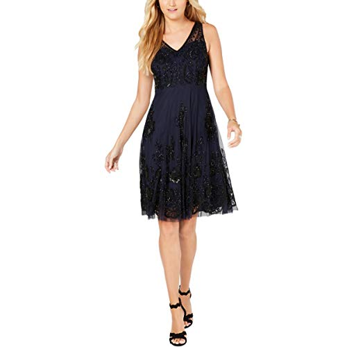 Adrianna Papell Women's Classy Subtle Beaded Cocktail Dress with Ruffle Skirt, Navy/Black, 4