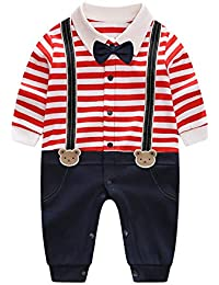 afa9113e7 Infant Newborn Baby Boy Long Sleeves Gentleman Romper Suits Dress Clothes  Outfits with Bow Tie