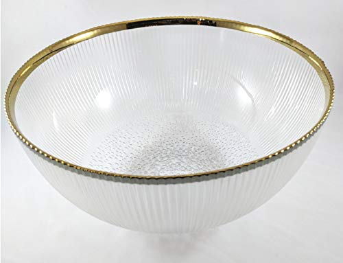 Circleware 09322 Tiara Glass Optic Serving Mixing Bowl with Gold Rim Home & Kitchen Dish for Fruit, Salad, Cake, Ice Cream, Dessert, Food, Punch, Beverage, Decor Gifts, 5.31