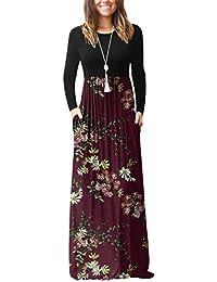 Women's Long Sleeve Empire Waist Maxi Dresses Long Dresses with Pockets