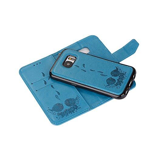 Samsung G925F avec cuir pour motifs de avec S6 en support Hozor fermeture PU exquis cas Wallet Flip Galaxy blue de SM relief Edge étui protection téléphone magnétique carte fente XT1dw