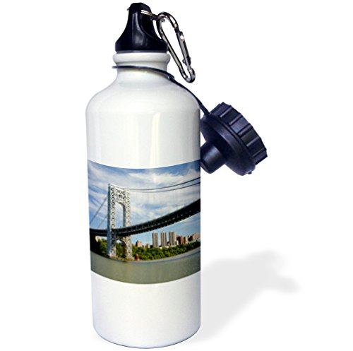 3dRose New York. George Washington Bridge and Little Red Lighthouse. -Sports Water Bottle, 21oz (wb_190256_1), 21 oz, Multicolor