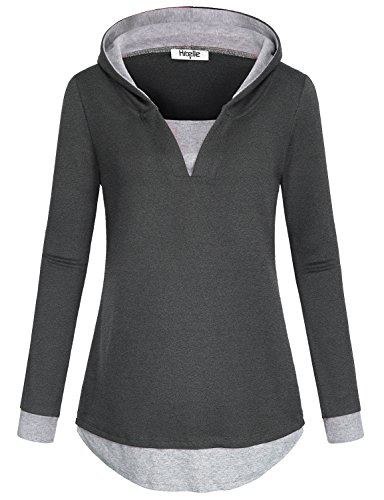 Knit Hooded Pullover - Hibelle Ladies Hooded Sweatshirts Tops, Split Vneck Long Sleeve Curved Hem Athletic Clothes Relaxed Fit Knit Faux Twinset Elegant Office Hoodies Pullover Jumper Blouses Gray L