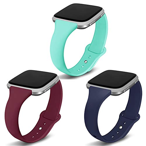 Kmasic Compatible Versa Bands 3 Pack, Narrow Slim Soft Silicone Small Replacement Wristband for Versa/Versa Lite Edition Women Men, Teal/Navy/Wine Red, Large