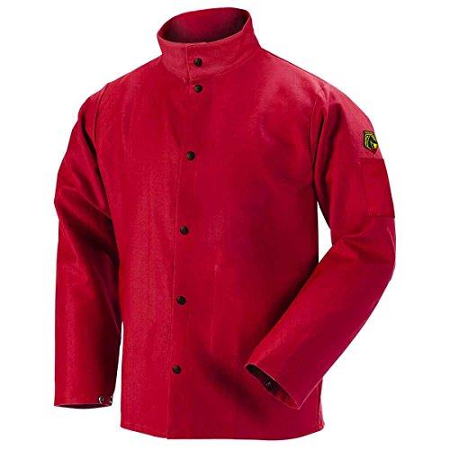 "Discount Black Stallion FR9-30C 30"" 9oz. Red FR Cotton Welding Jacket, Large"