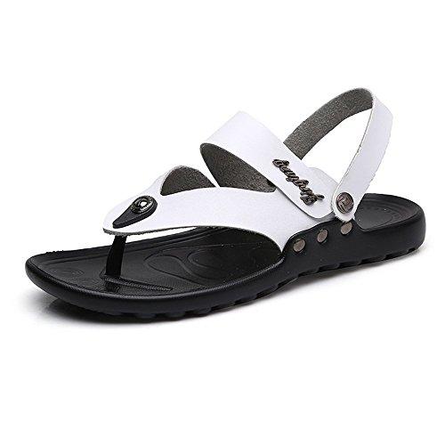 Chancletas para de Playa Zapatos Cuero Sandalias Genuino Hombre Blanco con Antideslizante Casuales Suela de Zapatillas qar5q