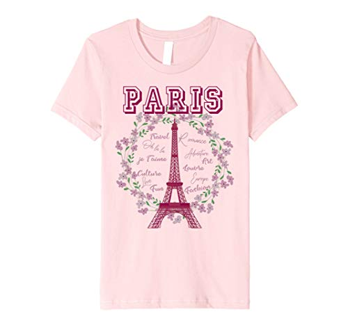 Kids Paris France Floral Wreath Eiffel Tower Novelty Gift T-Shirt 10 Pink