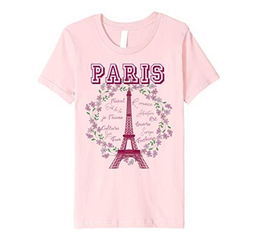 Kids Paris France Floral Wreath Eiffel Tower Novelty Gift T-Shirt 10 Pink