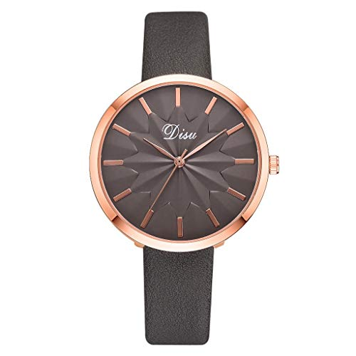 Winsopee Women Sun Flower Quartz Watch Luxury Fashion Lady Simple Dial Strap Watch (Brown)