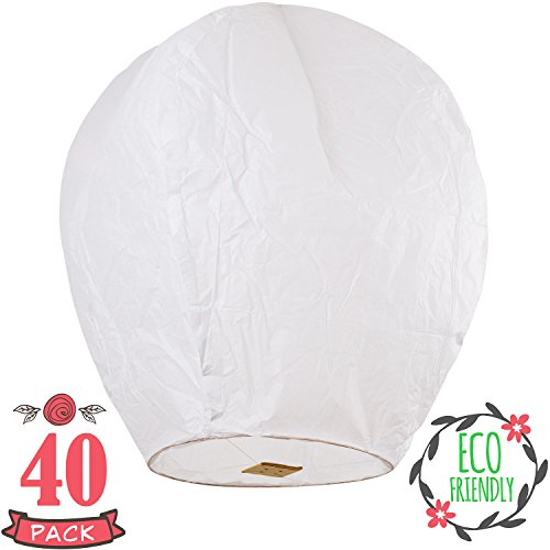 Chinese Lanterns 40-Pack White, Fully Assembled And Fuel Cell Attached Is 100% Biodegradable, New Designed Sky Lantern With Gift Box Coral Entertainments For Any (Chinese Lanterns Halloween)