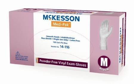 Medi-Pak Powder-Free Vinyl Exam Gloves - Large, 1000 Each / Case by McKesson