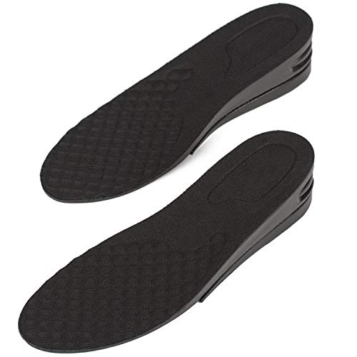 Height Increase Adjustable Elevator Shoe Lift Insoles for Men - 1 or 1.5 Inch Taller Heightening Liftkits - Size Large