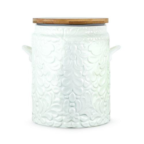 Twine Pantry Textured Ceramic Cookie Jar, White True Fabrication 5522