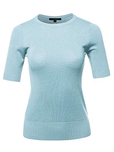 Top Sleeve 1/2 (Basic Casual Colorful 1/2 Sleeve Knit Pullover Sweator Top Lightblue M)