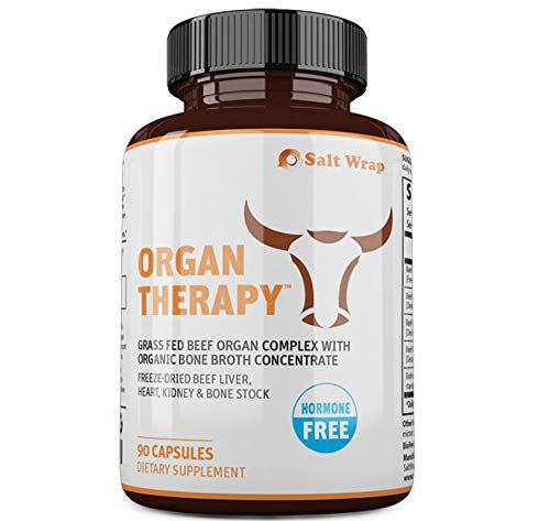 New! Organ Therapy™ Grass Fed Beef Organ Meat Complex Supplement – with Organic Bone Broth Concentrate – Freeze-Dried Beef Liver, Heart, Kidney & Bone Broth Capsules with BioPerine