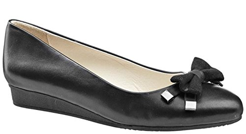 BETSY BLACK LOW FAUX LEATHER WEDGE BOW FRONT BALLET STYLE Black dLDe7gX