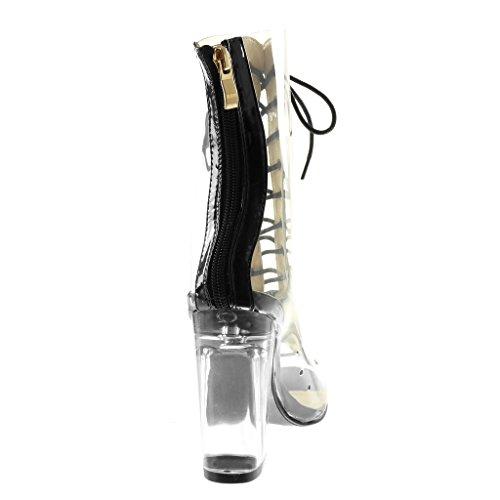 Bloc Montante Peep Talon Transparent 10 Chaussure Mode Haut Femme Angkorly Escarpin Lacets Noir Cm Bottine toe wxqaICT7X