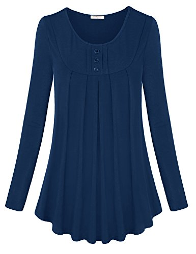 Yoke Pintuck - Nomorer Flowy Tunic Tops for Women, Long Sleeve Casual Loose Dressy Shirt Lightweight Breezy Prime Cute Swing Blouse Relaxed Fit Tunic Shirt for Leggings (Blue, X-Large)