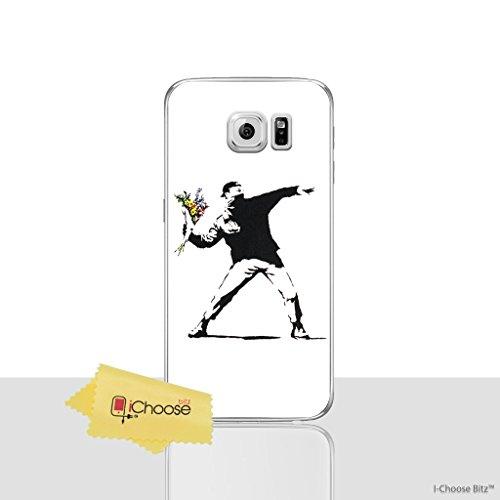 Banksy Funda/Cubierta del Teléfono para Samsung Galaxy S7 (G930) con Protector de Pantalla / Silicona Suave de Gel/TPU / iCHOOSE / Panda Flores
