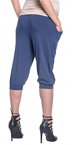 Happy Mama. Para Mujer Premama Pantalones Recortadas Banda Elástica. 665p Azul Gris