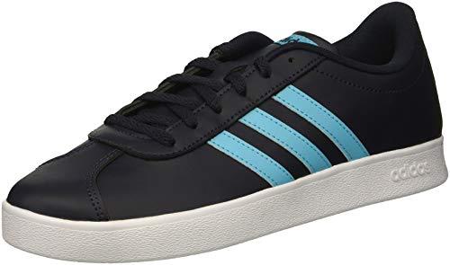 adidas Kids' VL Court 2.0 Sneaker, Legend Ink/Bright Cyan/White, 3 M US Little (Court Kids Skateboard Shoe)