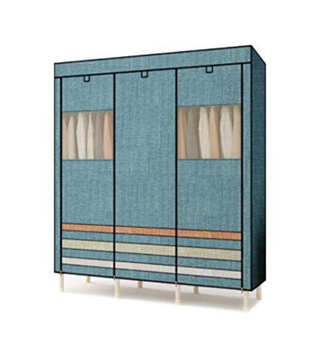 (ALWUD Portable Wardrobe Clothes Storage Organizer, Non-Woven Fabric Closet Shelves with Hanging Rod, 25mm Stainless Steel Dustproof Wardrobe,Blue_59x75x19inch)