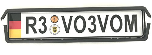 European Bracket Plate (Gosweet Standard Germany Flag European License Plate Holder Universal Mounting Frame Bracket Tag Euro Fully Cover For Audi BMW VW Mercedes Porsche (Plate+Holder))