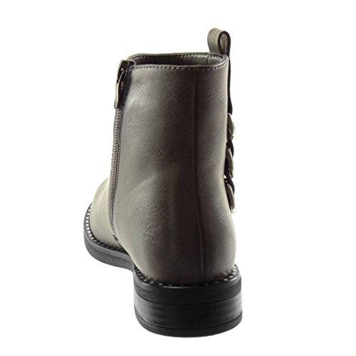 Mode Intérieur Cm Bloc Motard 3 Chaussure Bottine Gris Légèrement Anneaux Fourrée Femme Angkorly Talon Clouté RPwF5fq