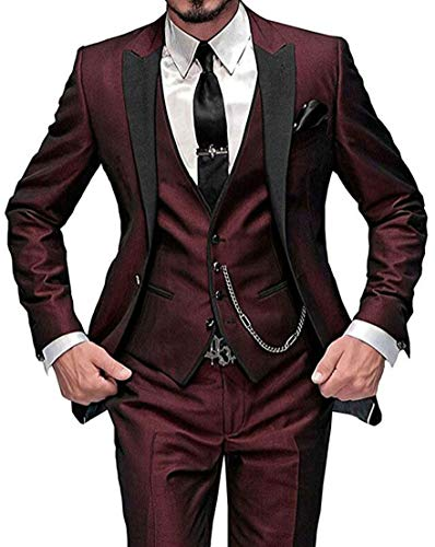 One Button 3 Pieces Burgundy Wedding Suits Notch Lapel Men Suits Groom Tuxedos Burgundy 40 chest / 34 waist